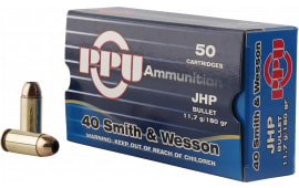 PPU PPR4.01 Handgun 40 Smith & Wesson (S&W) 180 GR Jacketed Hollow Point - 50rd Box