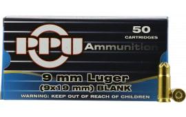 PPU PPB9L Blank 9mm Luger - 50rd Box