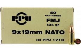 PPU PPN9 Mil-Spec 9mm NATO 124 GR Full Metal Jacket - 50rd Box