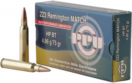 PPU PPM2232 Match .223/5.56 NATO 75 GR Hollow Point Boat Tail - 20rd Box