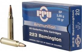 PPU PP223S Standard Rifle .223/5.56 NATO 55 GR Soft Point - 20rd Box