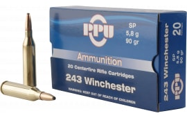 PPU PP2431 Standard Rifle 243 Winchester 90 GR Soft Point - 20rd Box