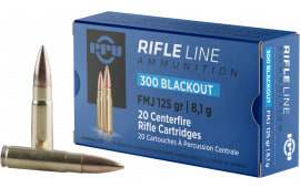 PPU PP300BF Standard Rifle 300 AAC Blackout/Whisper (7.62x35mm) 125 GR Flat Point Jacketed - 20rd Box