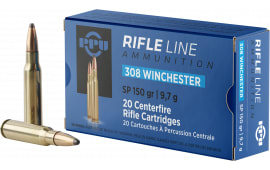 PPU PP3081 Standard Rifle 308 Winchester/7.62 NATO 150 GR Soft Point - 20rd Box