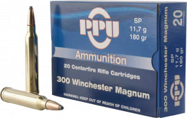 PPU PP3003 Standard Rifle 300 Winchester Magnum 180 GR Soft Point - 20rd Box