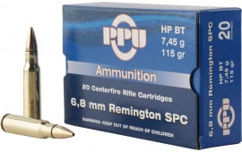 PPU PP68F Standard Rifle 6.8mm Remington SPC 115 GR Full Metal Jacket Boat Tail - 20rd Box