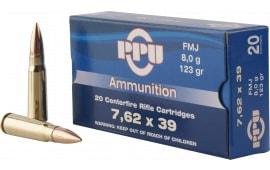 PPU PP338H Metric Rifle 7.62x39mm 123 GR Full Metal Case - 20rd Box
