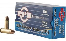 PPU PPH38SU Handgun 38 Super +P 130 GR Full Metal Jacket - 50rd Box