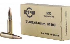 PPU PPN762 Mil-Spec M80 308 Winchester/7.62 NATO 145 GR Full Metal Jacket Boat Tail - 20rd Box