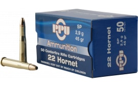 PPU PP22H Standard Rifle 22 Hornet 45 GR Soft Point - 50rd Box