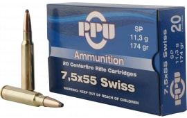 PPU PP303F Metric Rifle 7.5x55mm Swiss 174 GR Soft Point - 20rd Box