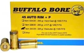 Buffalo Bore Ammunition 32C/20 45 Auto Rim +P 225 GR Wadcutter - 20rd Box