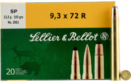 Sellier & Bellot SB9372RA Rifle 9.3mmX72R 193 GR Soft Point - 20rd Box