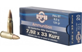 PPU PP7K Metric Rifle 7.9x33mm Kurz 124 GR Full Metal Jacket - 20rd Box