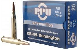 PPU PP2506P Standard Rifle 25-06 Remington 100 GR Pointed Soft Point - 20rd Box
