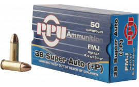 PPU PPH38SU Handgun 38 Super +P 130 GR Full Metal Jacket - 50rd Box