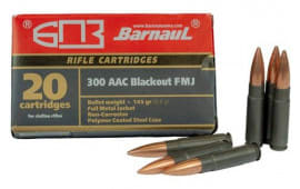 Barnaul 300 Blackout Ammunition - Case -145 Grain, FMJ, Polymer Coated, Steel Case, N/C - 500 Round Case, 300AAC
