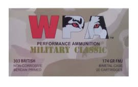 Wolf Military Classic 303 British 174 GR FMJ Ammo - 20rd Box