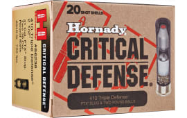 "Hornady 86238 Critical Defense 410GA 2.5"" Lead 2 Round Balls/1 Slug 35 Cal/41 Cal - 20sh Box"