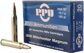 PPU PP3002 Standard Rifle 300 Winchester Magnum 165 GR Pointed Soft Point Boat Tail - 20rd Box