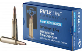 PPU PP6R Standard Rifle 6mm Remington 100 GR Soft Point - 20rd Box
