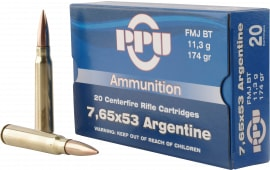 PPU PP68H Metric Rifle 7.65x53mm Argentine 174 GR Full Metal Jacket - 20rd Box