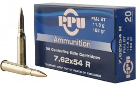 PPU PP76254F Metric Rifle Ammo, Case, 7.62x54mm Russian 182 GR Full Metal Jacket - 200 Round Case