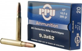 PPU PP9362 Metric Rifle 9.3mmx62 Mauser 285 GR Soft Point - 20rd Box