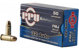 PPU PP32AF Handgun 32 ACP 71 GR Full Metal Jacket - 50rd Box