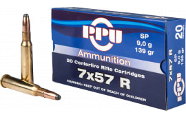 PPU PP303S1 Metric Rifle 7x57R 139 GR Soft Point - 20rd Box