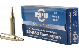 PPU PP22250 Standard Rifle 22-250 Remington 55 GR Soft Point - 20rd Box
