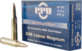PPU PP338H Standard Rifle 338 Lapua Magnum 250 GR Hollow Point Boat Tail - 10rd Box