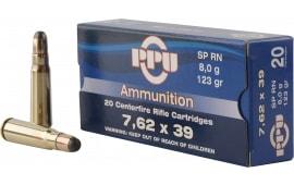 PPU PP375F Metric Rifle 7.62x39mm 123 GR Soft Point - 20rd Box