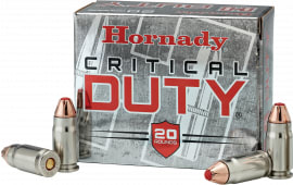 Hornady 90216 Critical Duty 9mm Luger +P 124 GR FlexLock - 20rd Box