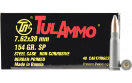 Tulammo UL076213 Centerfire Rifle 7.62x39mm 124 GR Soft Point - 40rd Box