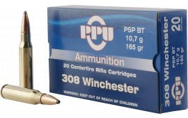 PPU PP3082 Standard Rifle 308 Winchester/7.62 NATO 165 GR Pointed Soft Point Boat Tail - 20rd Box