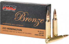 PMC 223A 1000 Rd Case, Bronze Target 223 Remington, FMJ Boat Tail 55 GR - Brass, Boxer, N/C, Re-loadable - 1000 Round Case