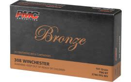 PMC 308B Bronze 308 Winchester/7.62 NATO Full Metal Jacket 147 GR - 20rd Box