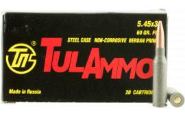 Tulammo TA545390 Centerfire Rifle 5.45mmX39mm 60 GR FMJ - 20rd Box