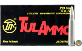 Tulammo TA223620 Centerfire Rifle .223/5.56 NATO 62 GR Full Metal Jacket - 20rd Box