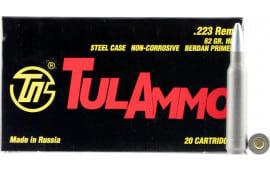Tulammo TA223621 Centerfire Rifle .223/5.56 NATO 62 GR Hollow Point - 20rd Box