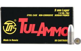 Tulammo TA919150 Centerfire Handgun 9mm Luger 115 GR FMJ - 50rd Box