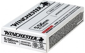 Winchester Ammo Case, USA556JF Target & Range .223/5.56 NATO 50 GR Jacketed Frangible - 1000 Round Case