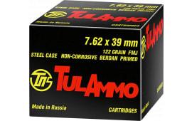 Tula 7.62x39 Ammunition - 122 GR, FMJ, Non-Corrosive - 1000rd Case