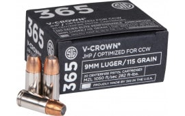 Sig Sauer E9MMA1-365-20 9mm 115 Jacketed Hollow Point VCRWN - 20rd Box