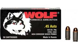 Wolf MC45FMJ Military Classic 45 ACP 230 GR Full Metal Jacket - 500rd Case