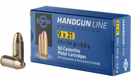 PPU PPH921 Handgun 9x21mm IMI 124 GR Full Metal Jacket - 50rd Box