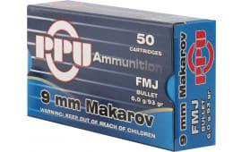 PPU PPR94 9X18MAK 93 FMJ 50/20 - 50rd Box