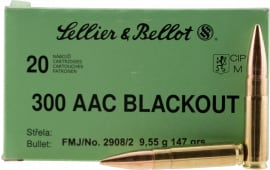 Sellier & Bellot 300BLKB Rifle 300 AAC Blackout 147 GR Full Metal Jacket - 20rd Box