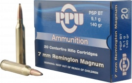 PPU PP3081 Standard Rifle 7mm Remington Magnum 140 GR Pointed Soft Point - 20rd Box